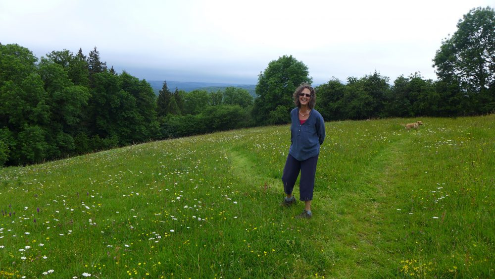 Mary Staniland in her meadow, Buckland-in-the-moor